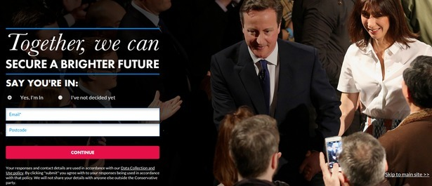 The Conservative party landing page