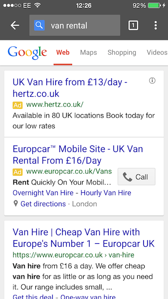 Mobile Customer Journey From Search To Checkout Car And Van Hire