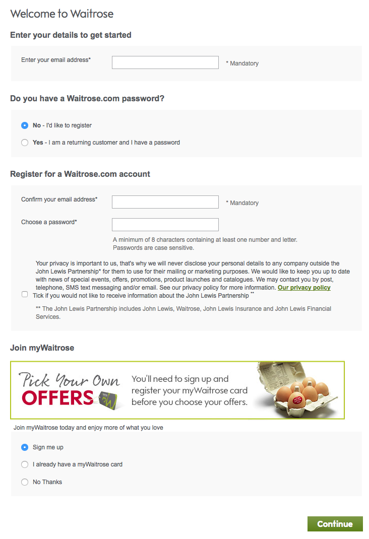 Waitrose registration page