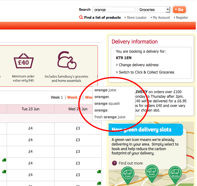 Sainsbury's predictive search