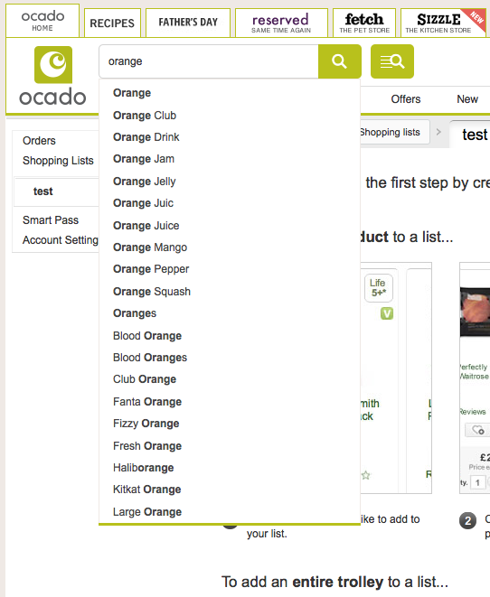 Ocado predictive search