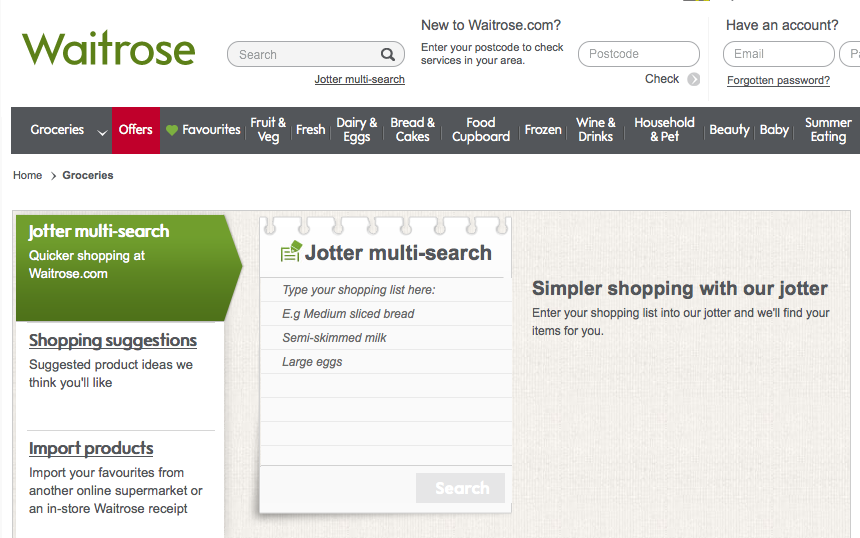 Waitrose shopping list function