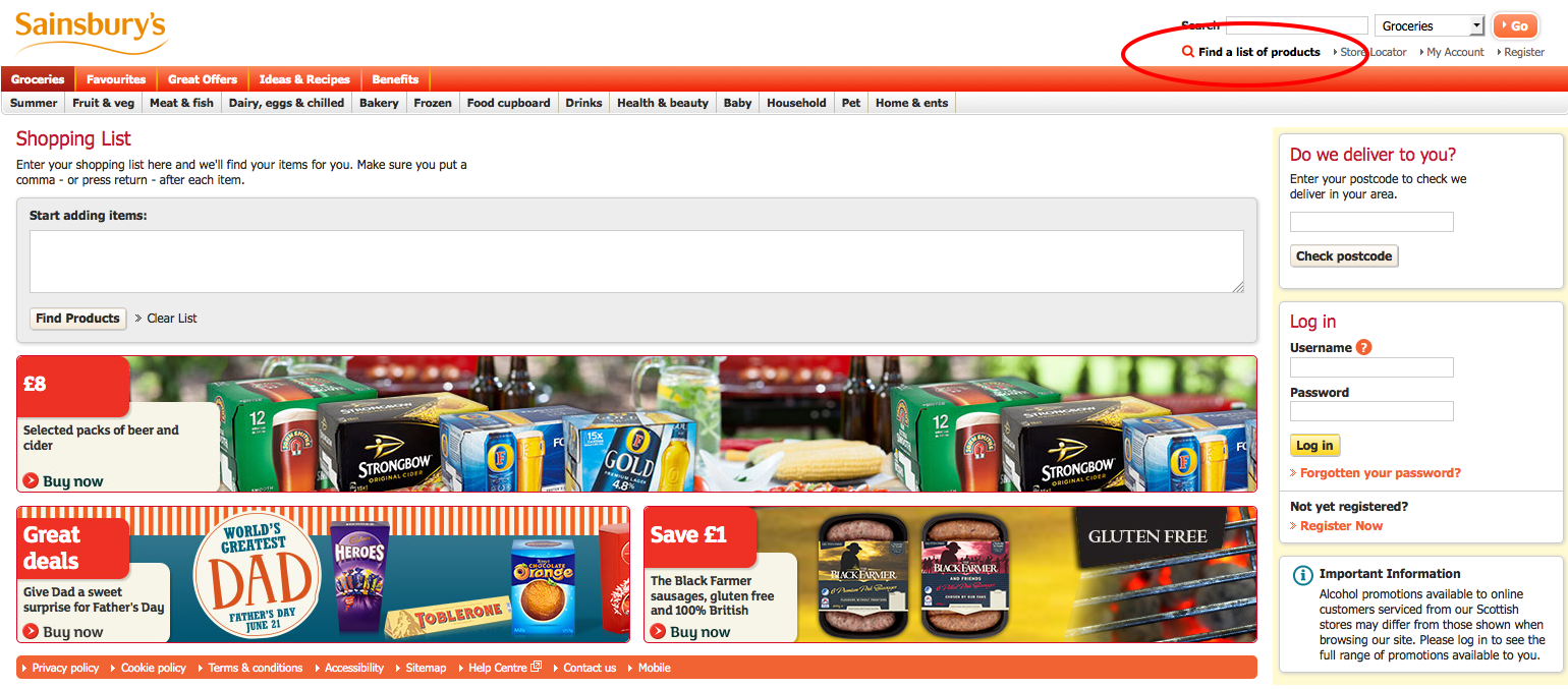 Sainsbury's shopping list function