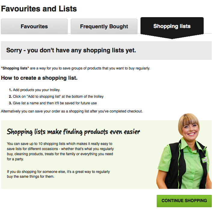 Asda shopping list function