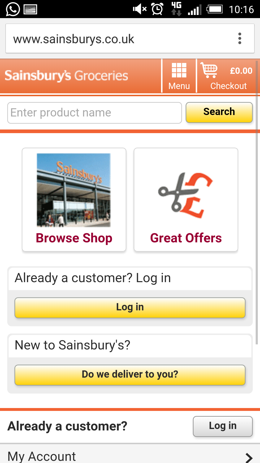 Sainsbury's mobile site