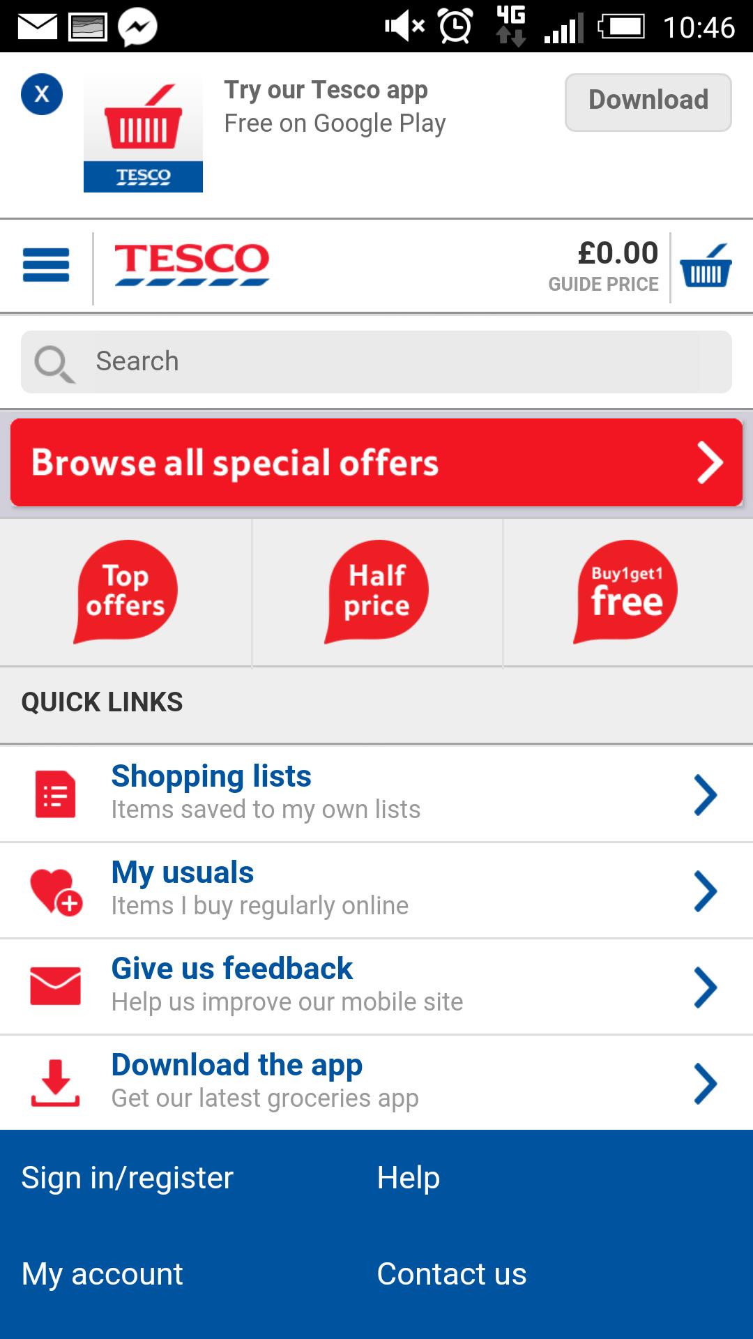 Tesco mobile site