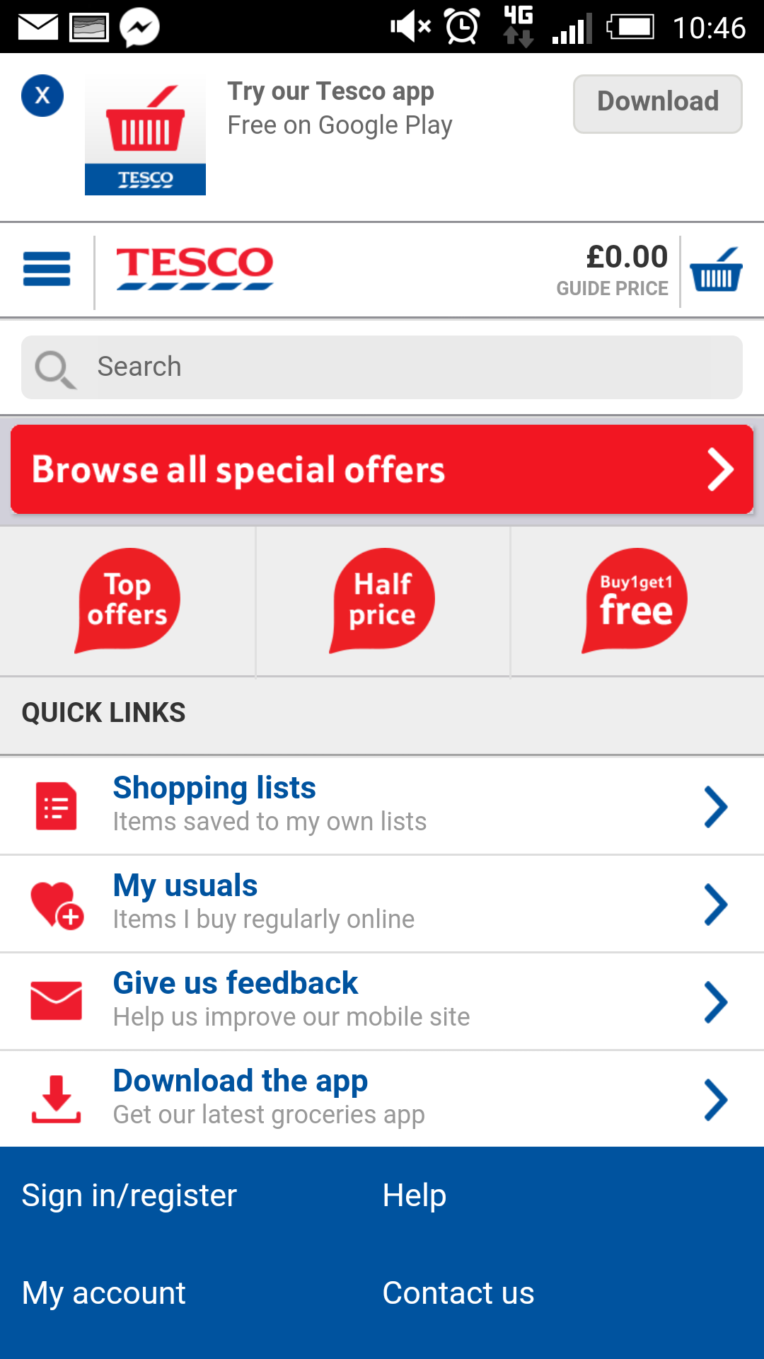 Tesco mobile site