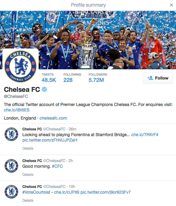 Chelsea Twitter page