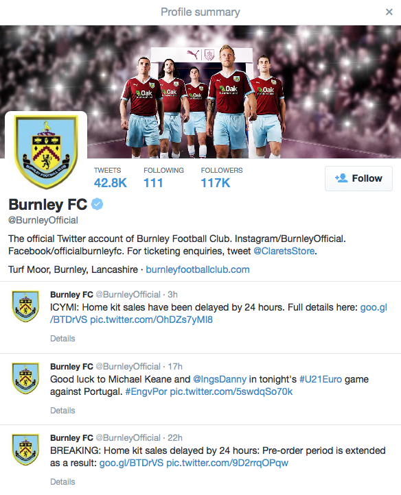 Burnley Twitter page