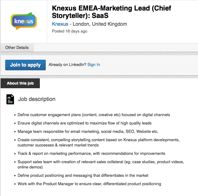 What the hell is a chief storyteller anyway – Chief Marketing Officer Job Description