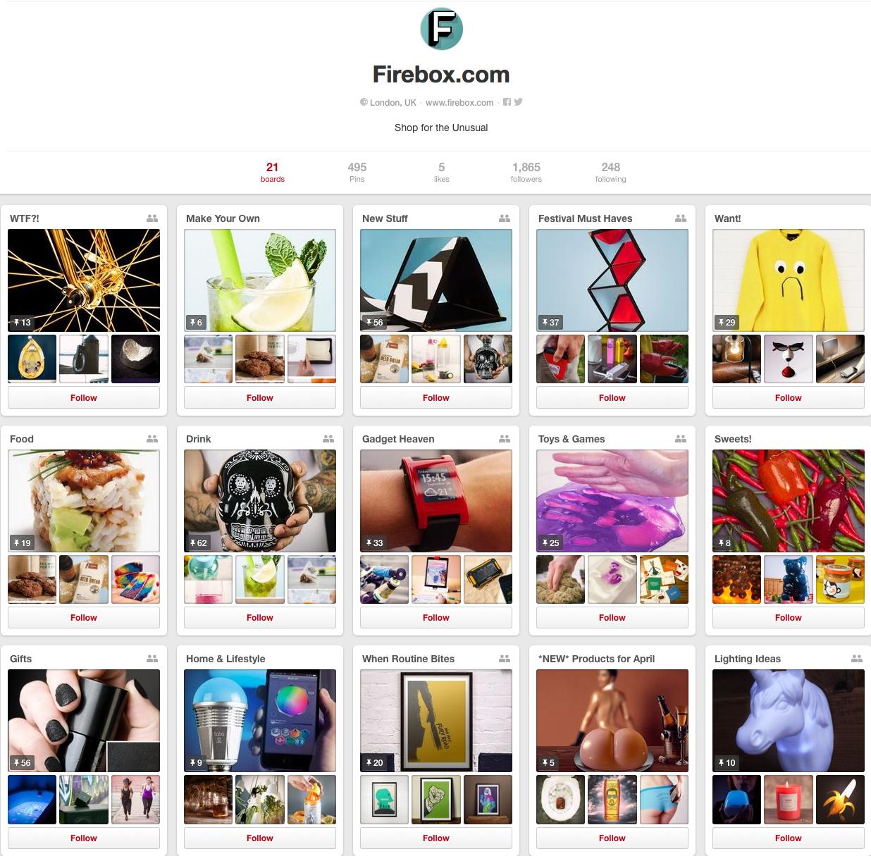 Firebox Pinterest page