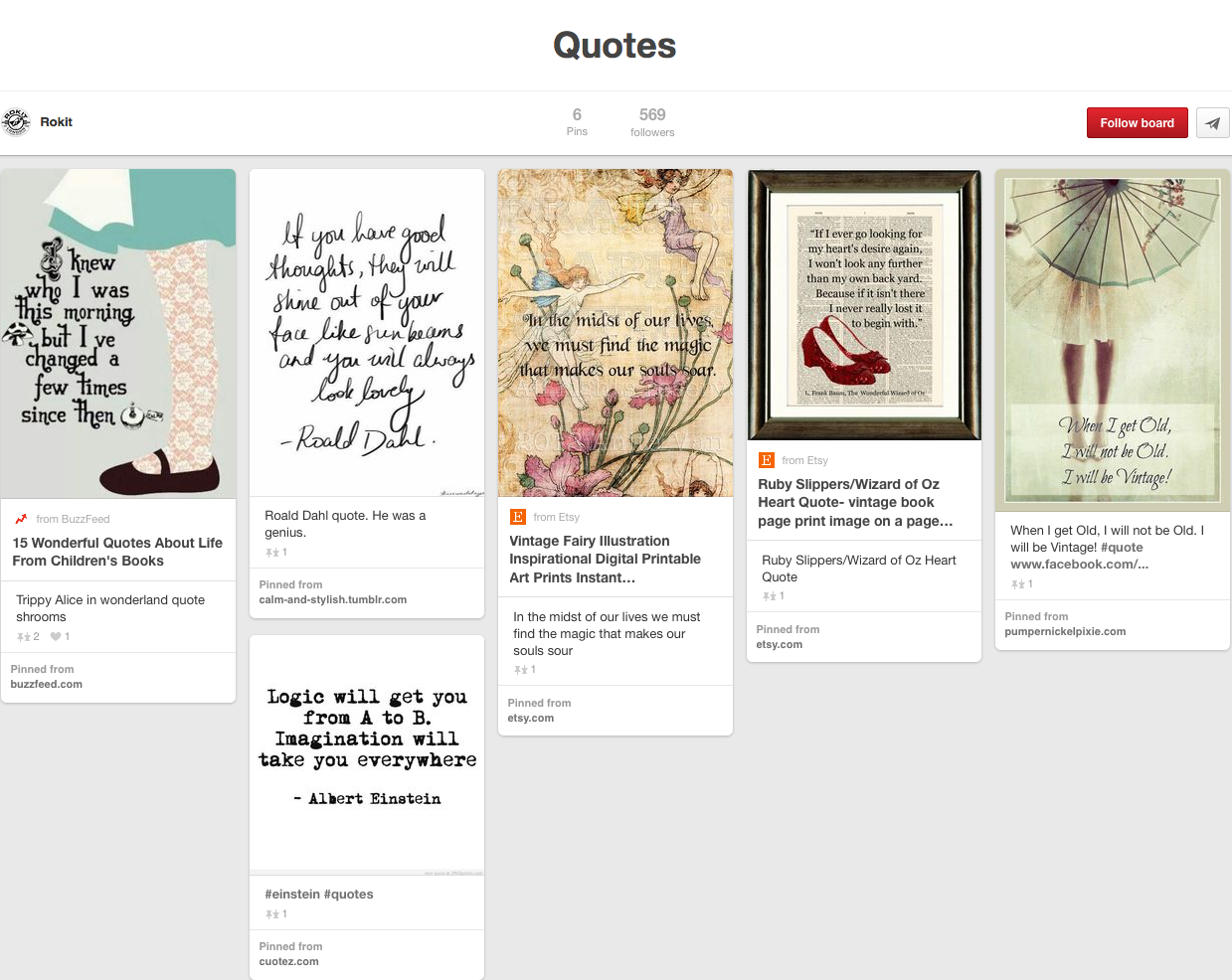 Rokit Pinterest page