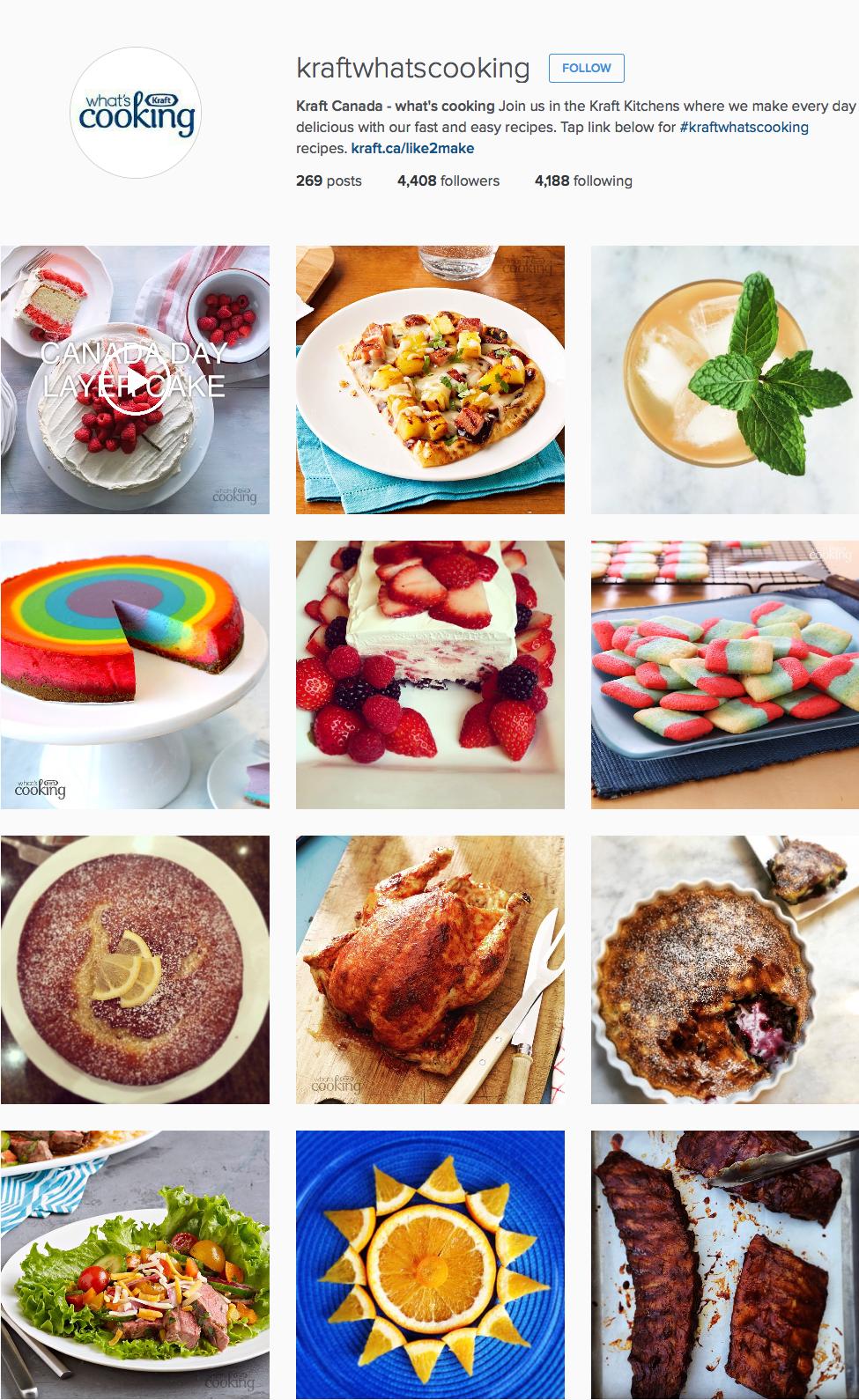 Kraft Instagram page
