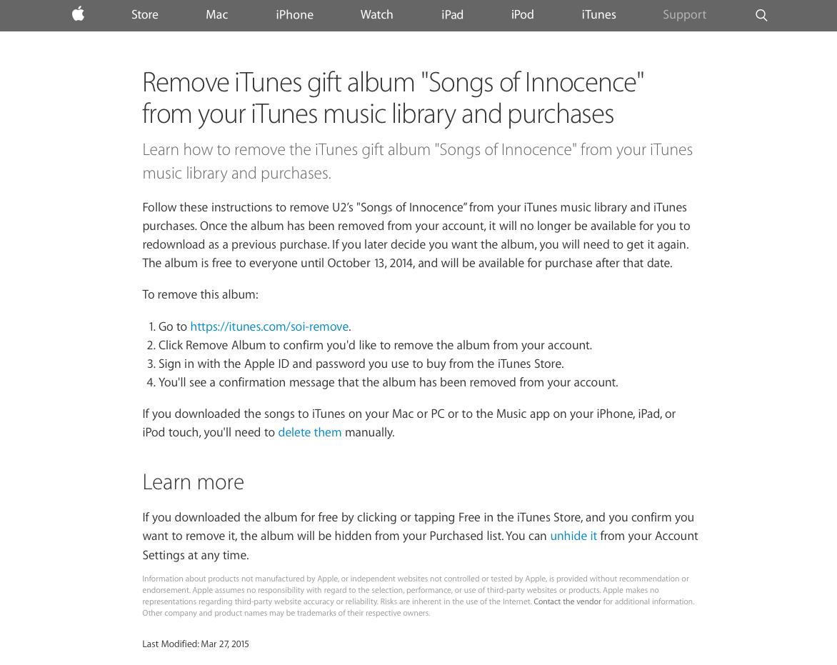 Remove U2 album from iPhone