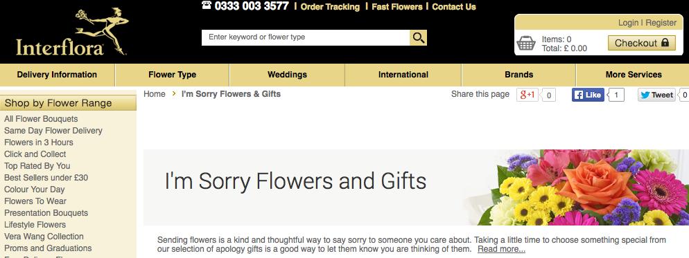 Interflora sorry flowers
