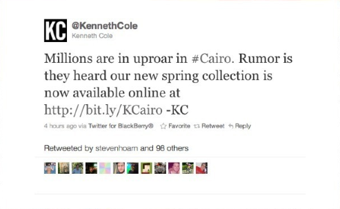 Kenneth Cole Arab Spring hashtag