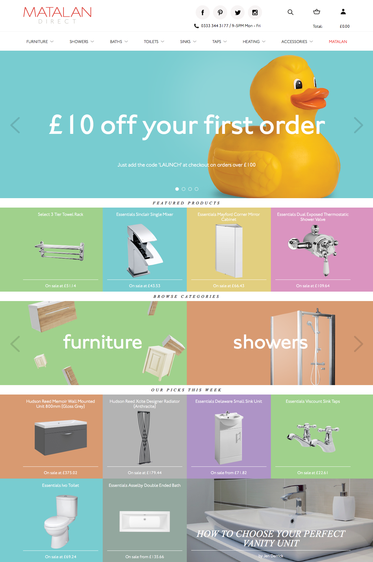 Matalan Direct home page