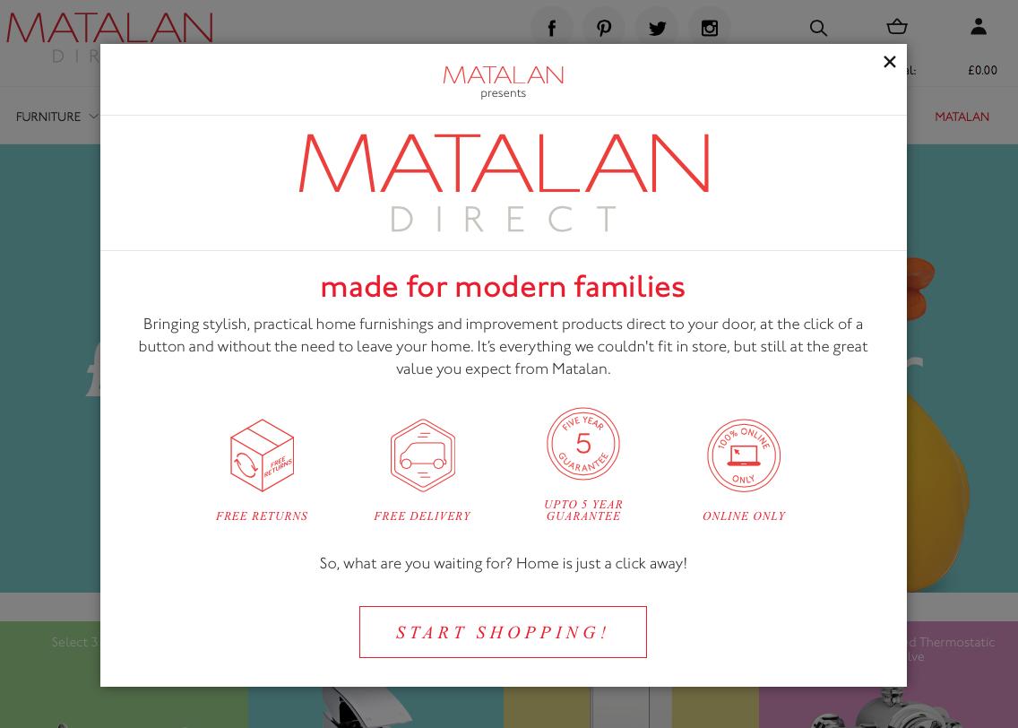 Matalan direct info pop-up