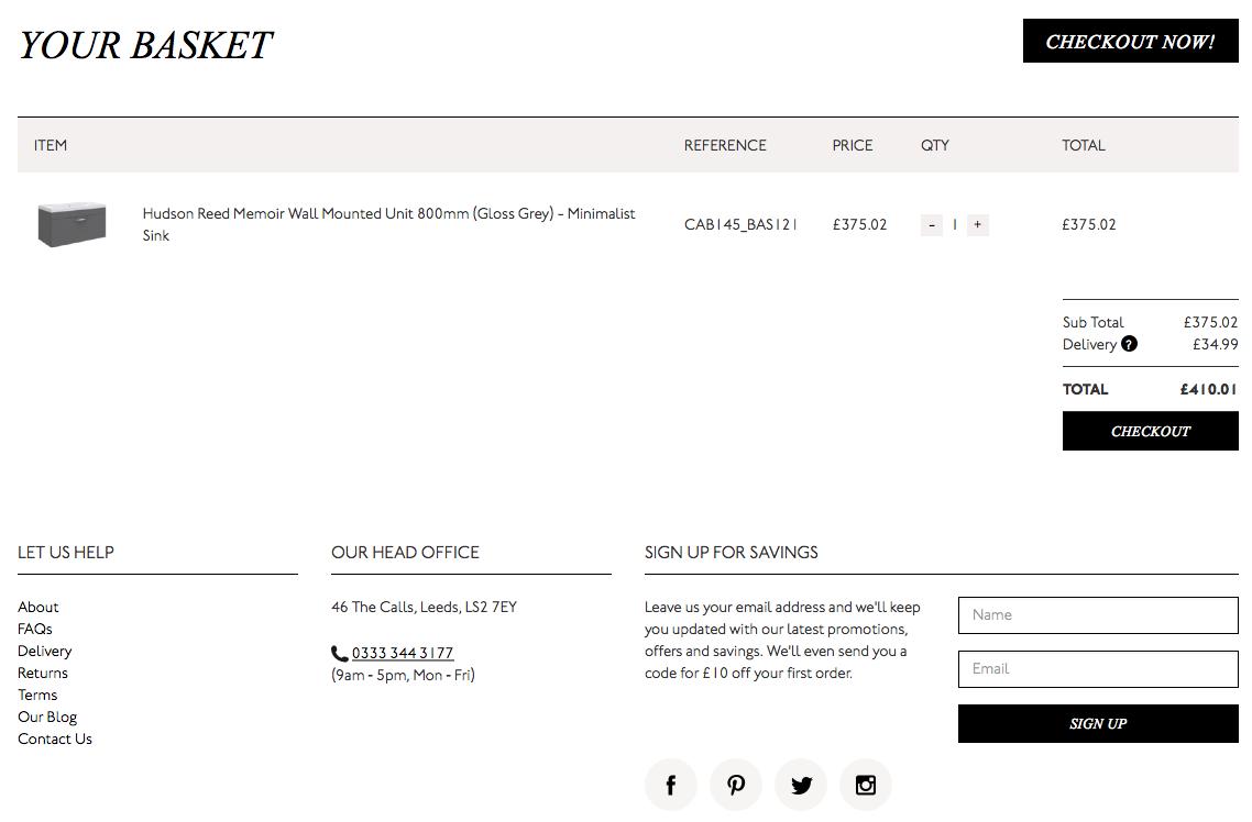 Matalan Direct checkout page