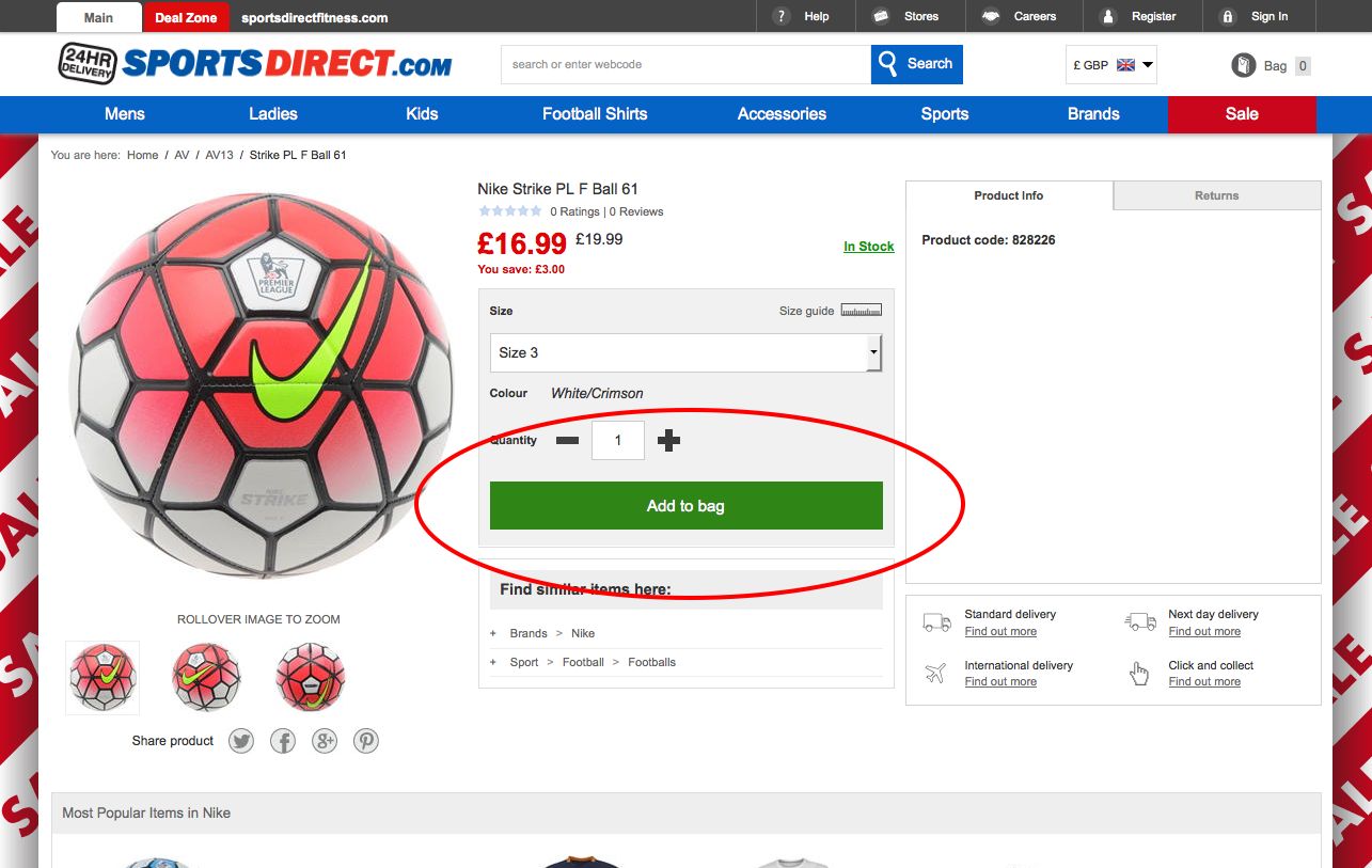 Sports Direct call to action