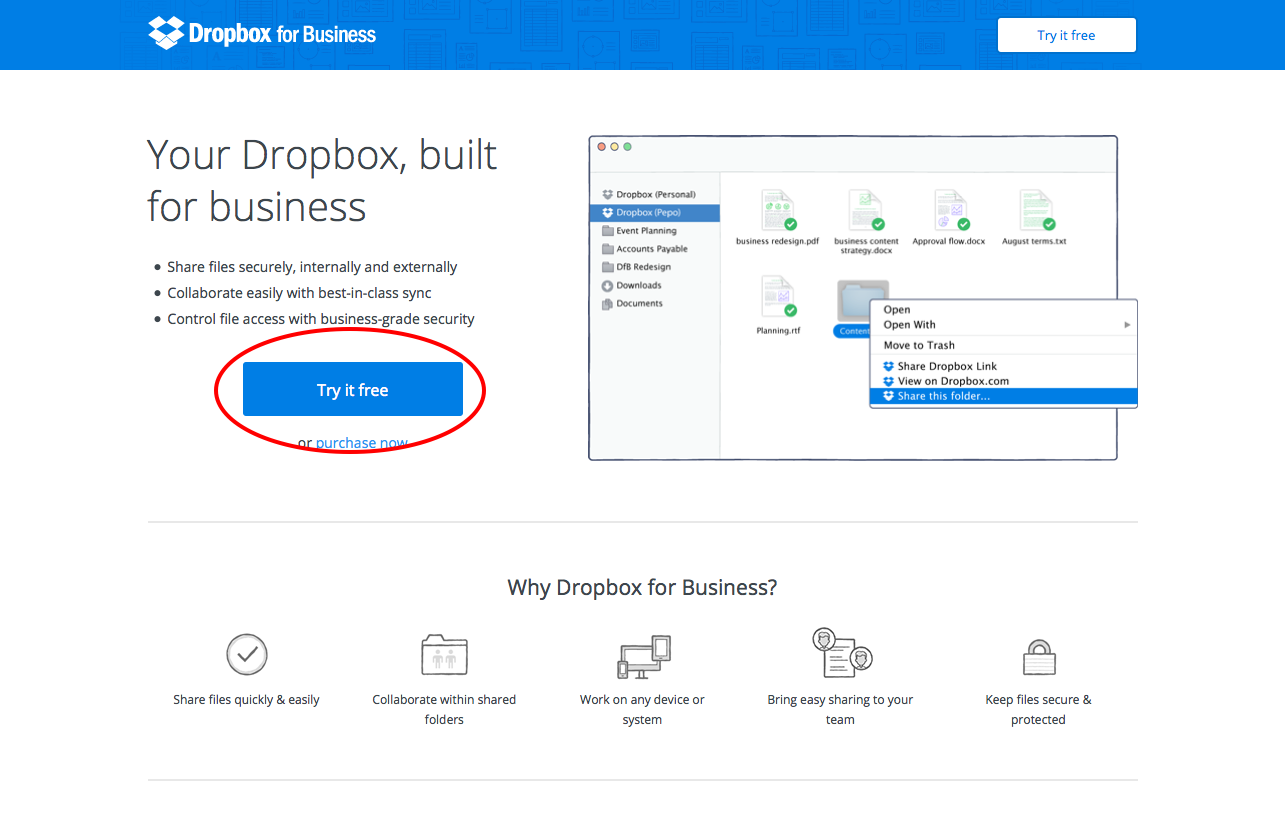 Dropbox call to action