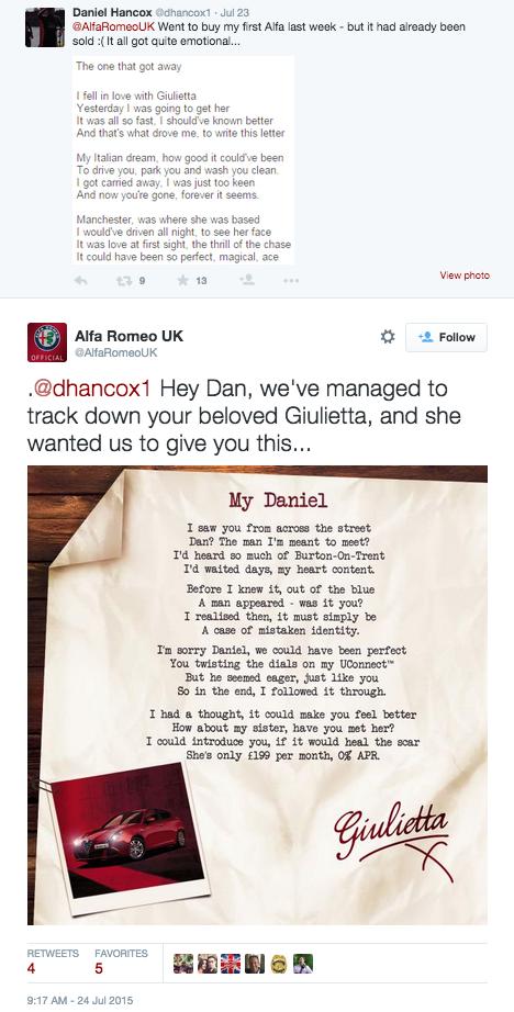 Alpha Romeo love letter