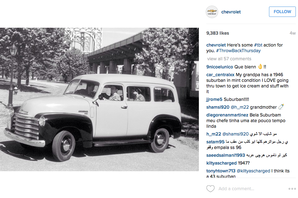 Chevrolet Instagram