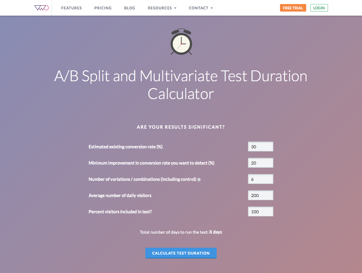 VWO A/B split test duration calculator