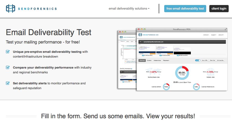 Sendforensics email deliverability test