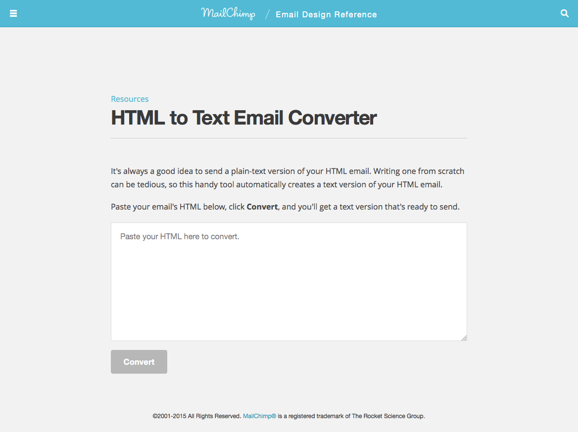 MailChimp HTML to text email converter