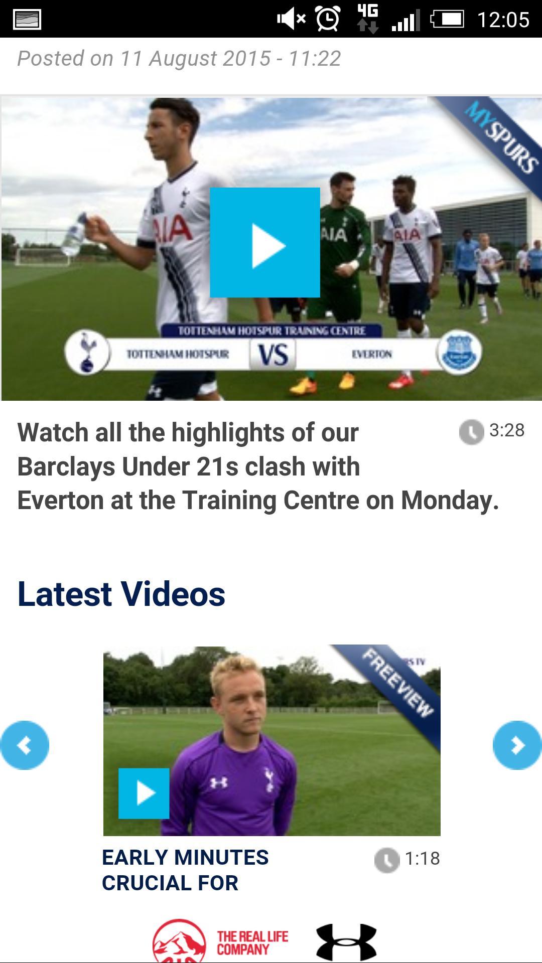 Tottenham Hotspur mobile site