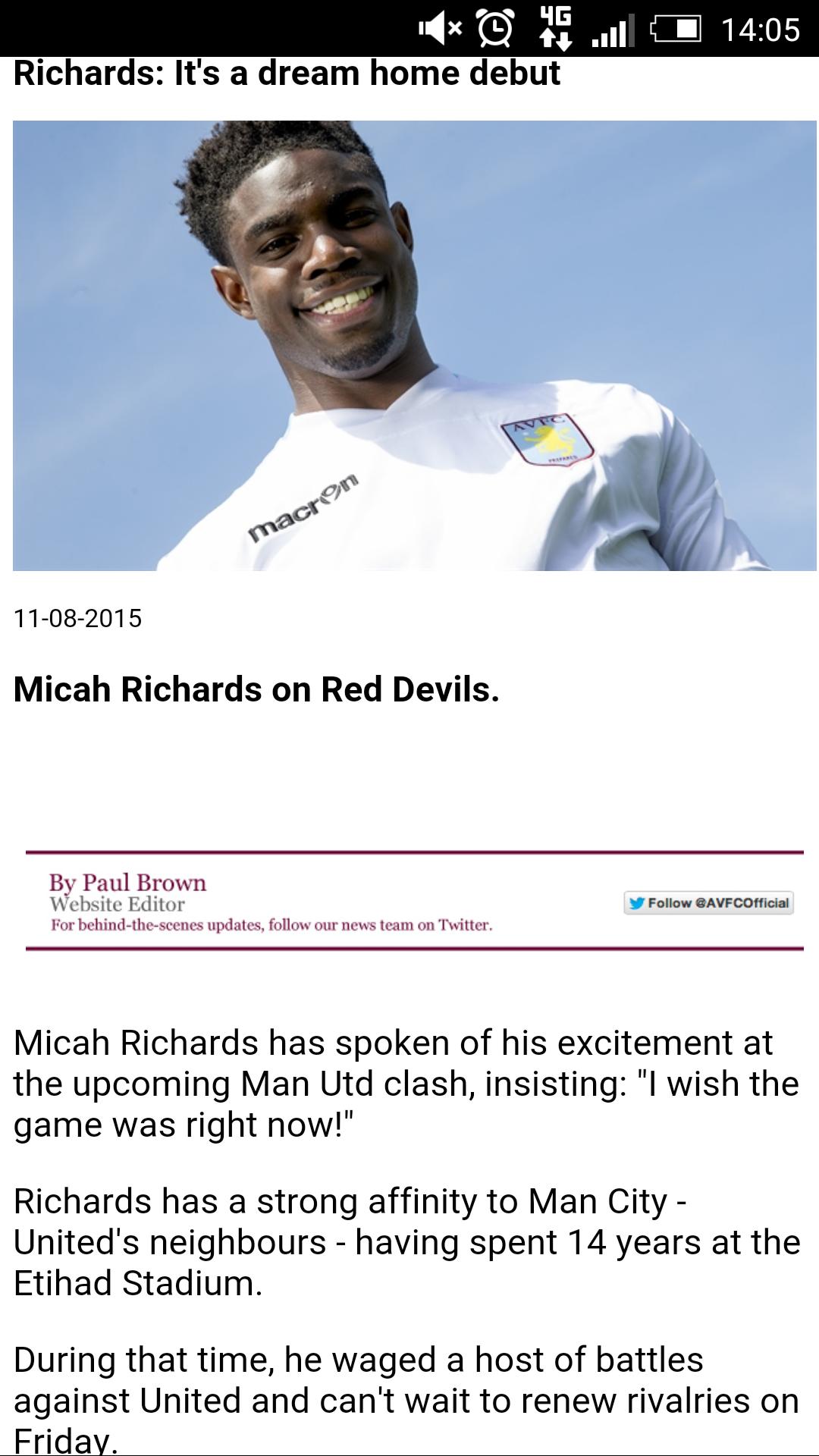 Aston Villa mobile site