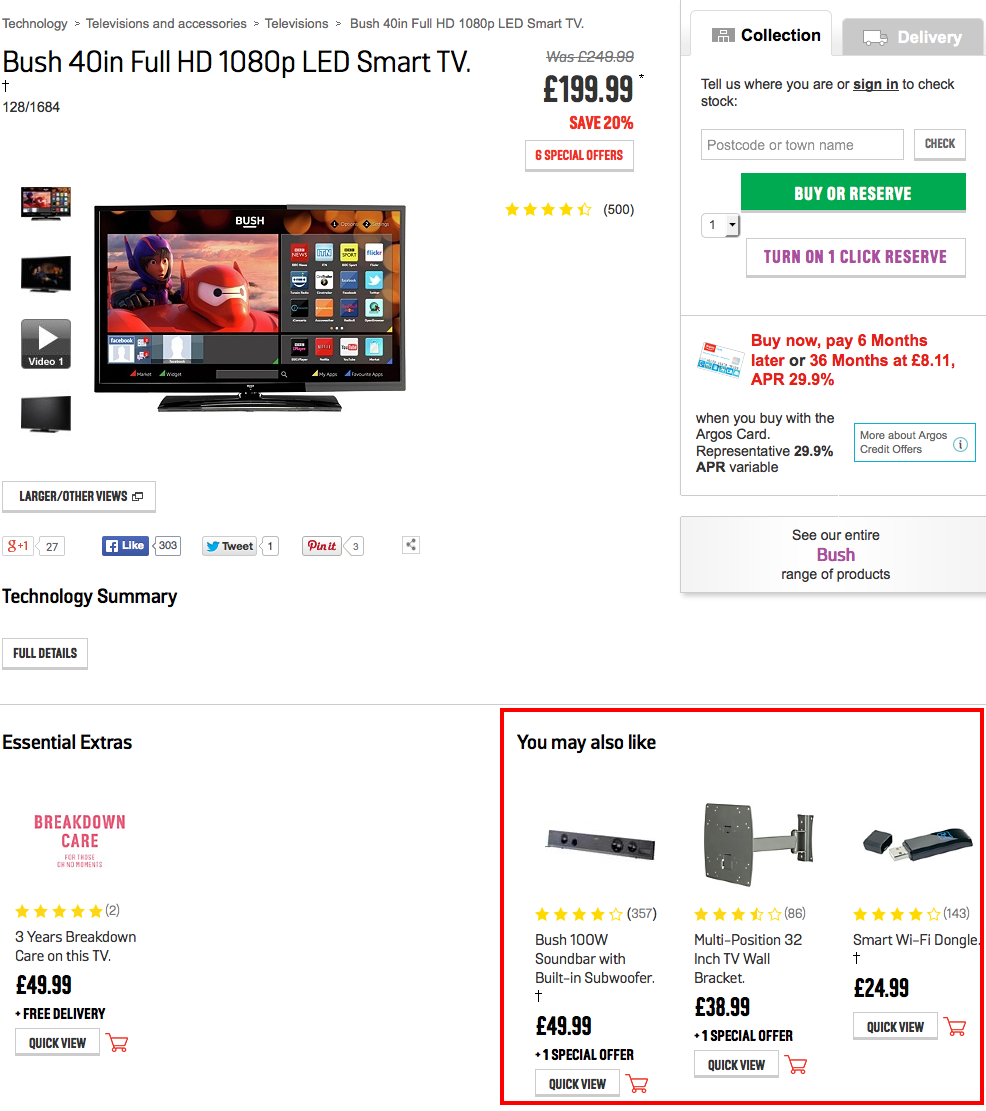 Argos cross-selling