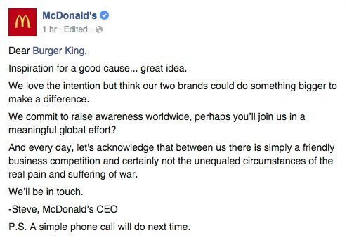 McDonald's responded to Burger King
