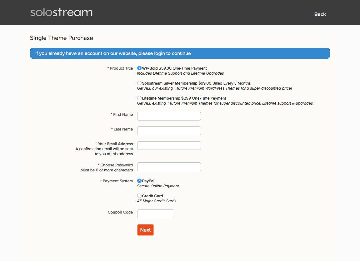 Solostream upselling online