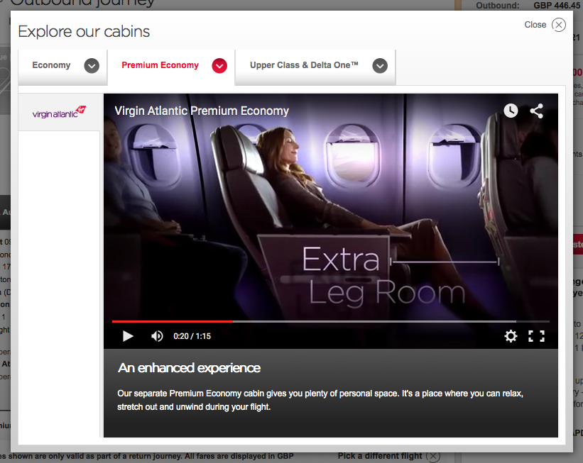 Virgin Atlantic upselling online