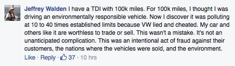 volkswagen complaint on Facebook