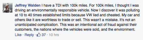 volkswagen complaint on Facebook