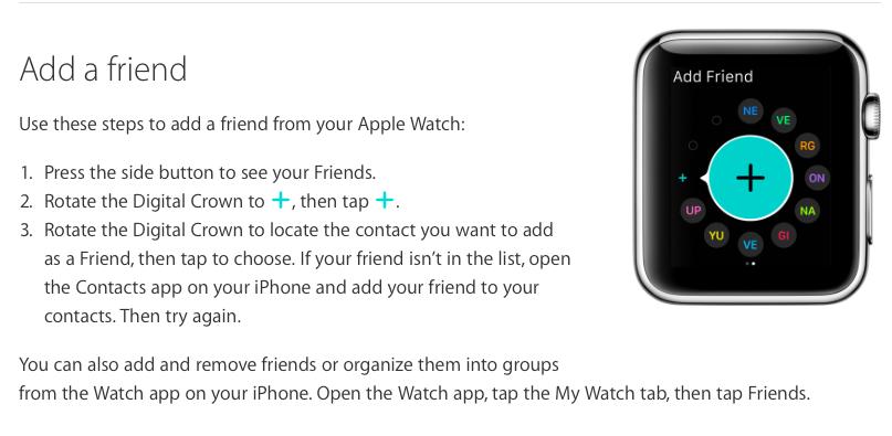 add a friend - apple watch
