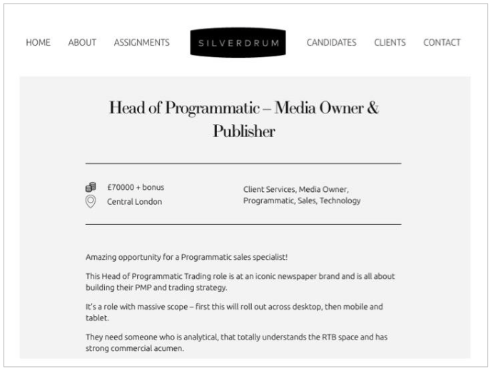 job description for head of programmatic