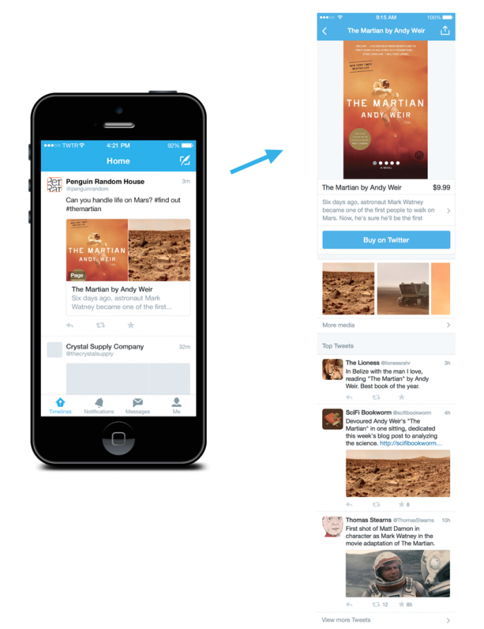 the martian product page in twitter