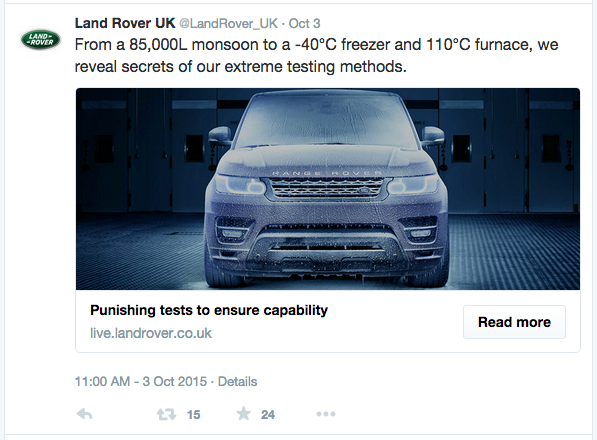twitter card for land rover live