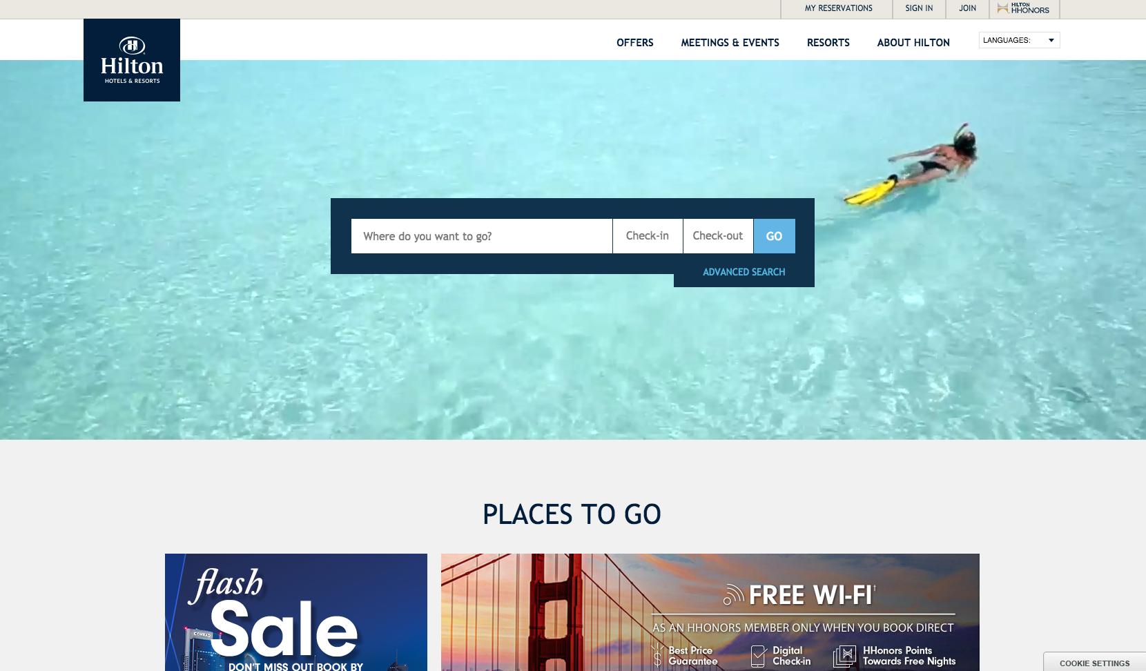 hilton homepage