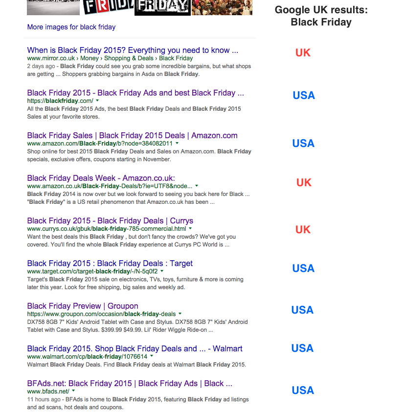 black friday google uk serps