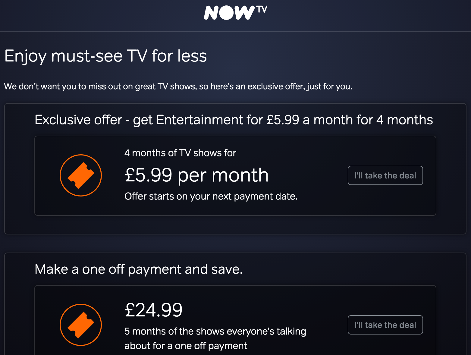 offers - now tv