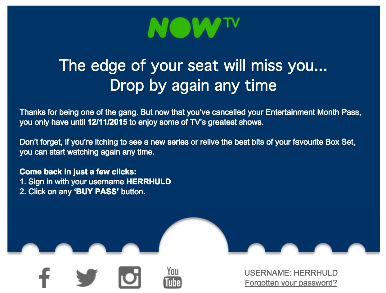 cancellation email - now tv