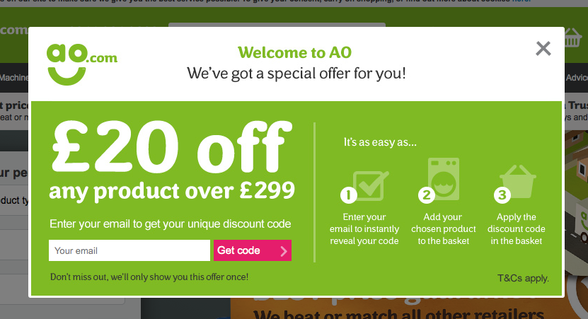 ao.com popup offer on homepage