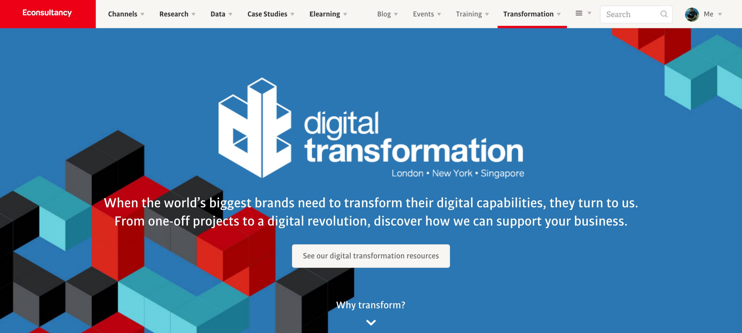 econsultancy digital transformation page