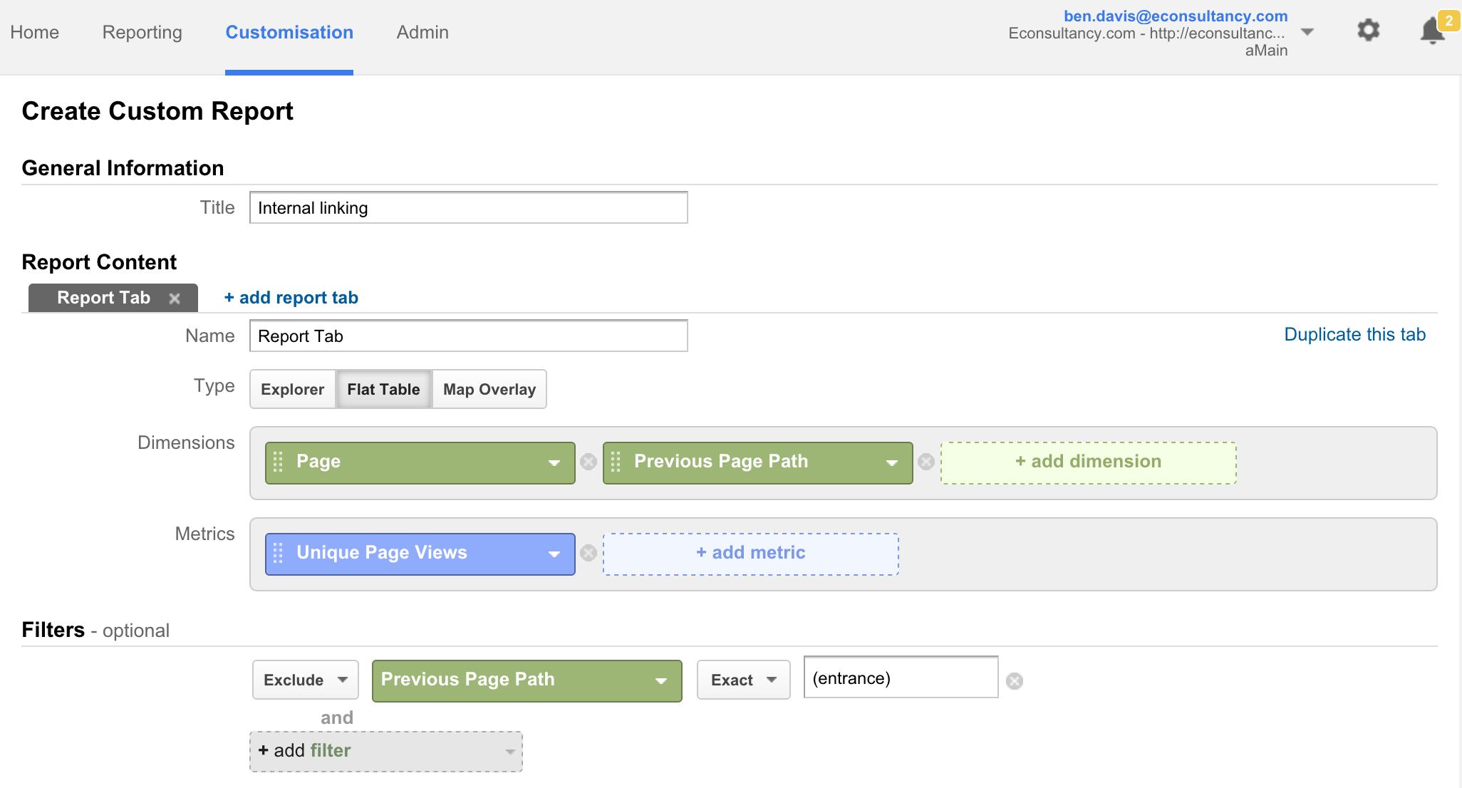 internal linking custom report