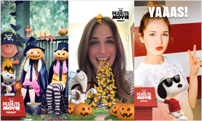 Snapchat first sponsored lense campaign with The Peanuts Movie
